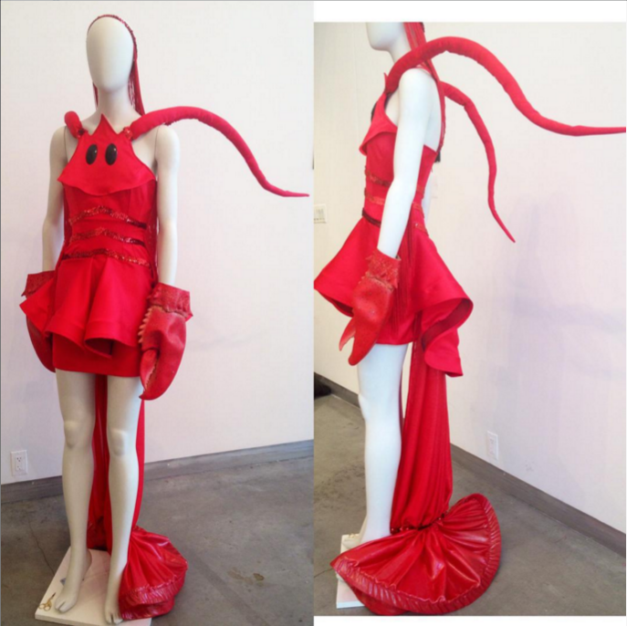 "My haute couture ""Dancing Lobster"" costume which won first place in a Pratt Institute fashion department competition partnered with the famous Screaming Mimi's Vintage shop in Manhattan where it is displayed in their front window from October 17th- October 31rst 2015. Lynn Yaeger from Vogue Magazine and Mickey Boardman from Paper Magazine were in the panel of judges."