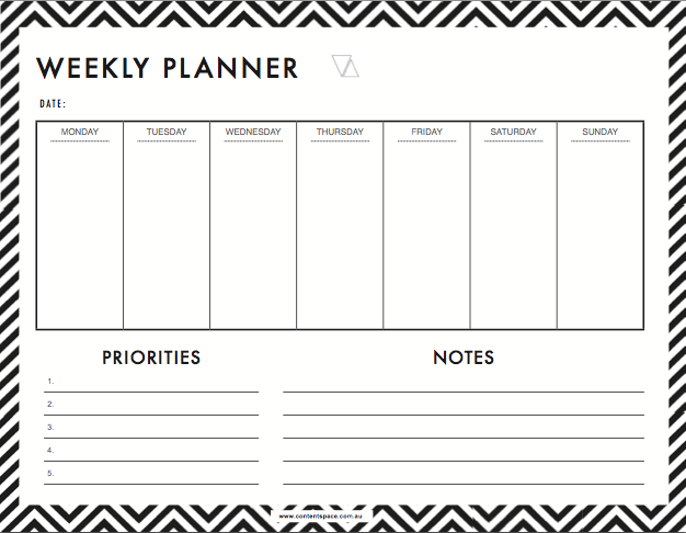 Free weekly planner for entrepreneurs