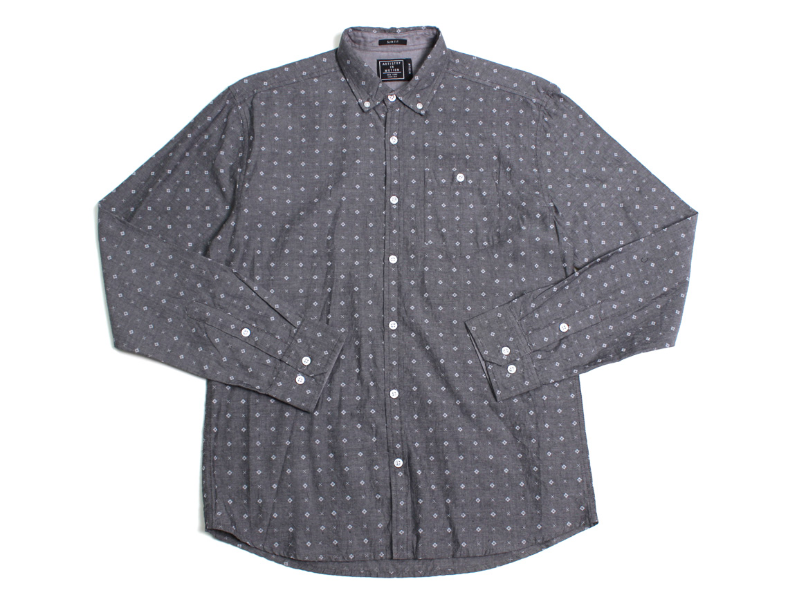 Crosses LS Button Up - Charcoal