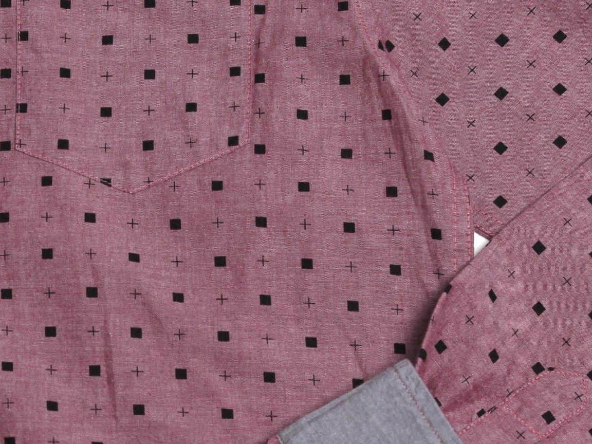 Micro Quads LS Button Up - Pomegranate