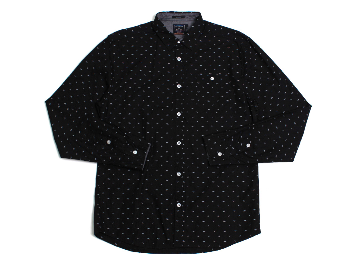 Micro Dinosaurs LS Button Up - Black