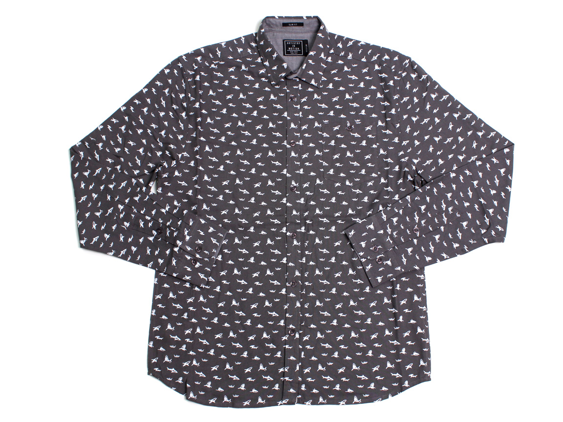 Micro Sharks LS Button Up - Charcoal