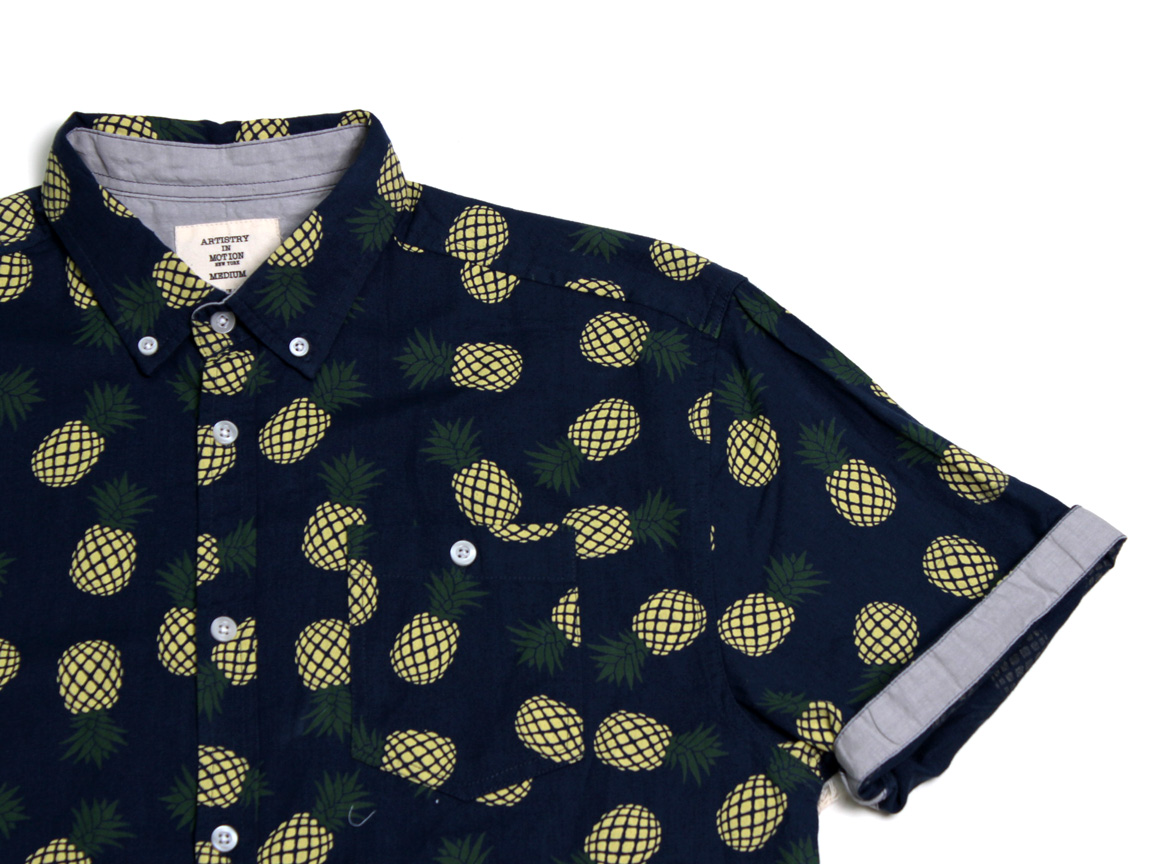 Pineapples SS Button Up - Navy