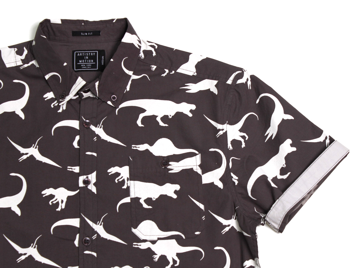 Macro Dinosaurs SS Button Up - Charcoal