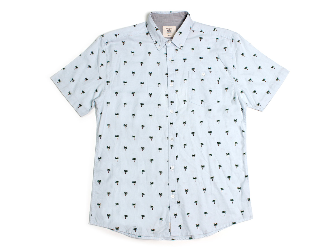 Palm Trees SS Button Up - Ballad Blue