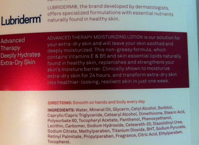 Not only is this lotion full of parabens but its second ingredient is Mineral Oil. Nowhere on the label does Lubriderm advertise that you're rubbing petroleum all over you. Total #beautybullshit!