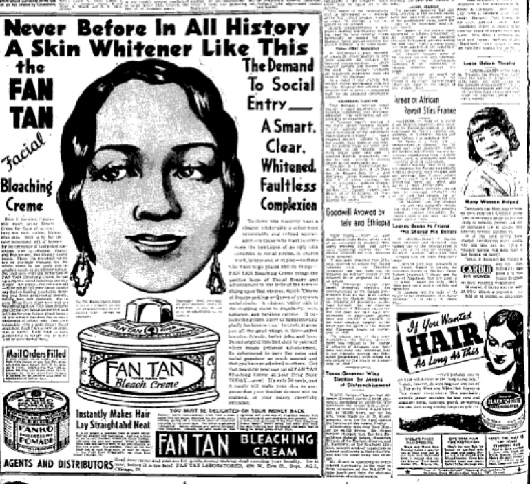 Skin bleaching is not a new phenomenon. This advertisement dates back to 1935.