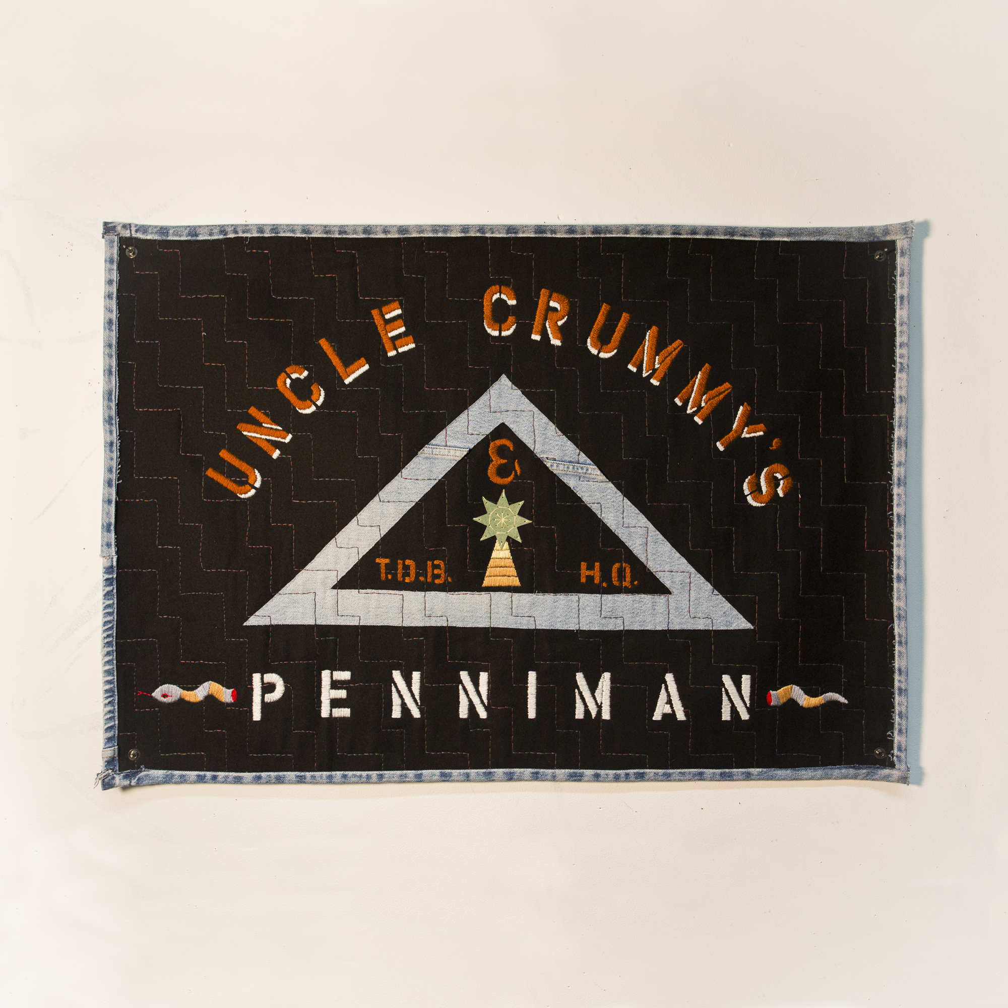 "Uncle Crummy's on Penniman Jeans, leather pants, wool, tencel, canvas 24.5 x 35"" 2014"