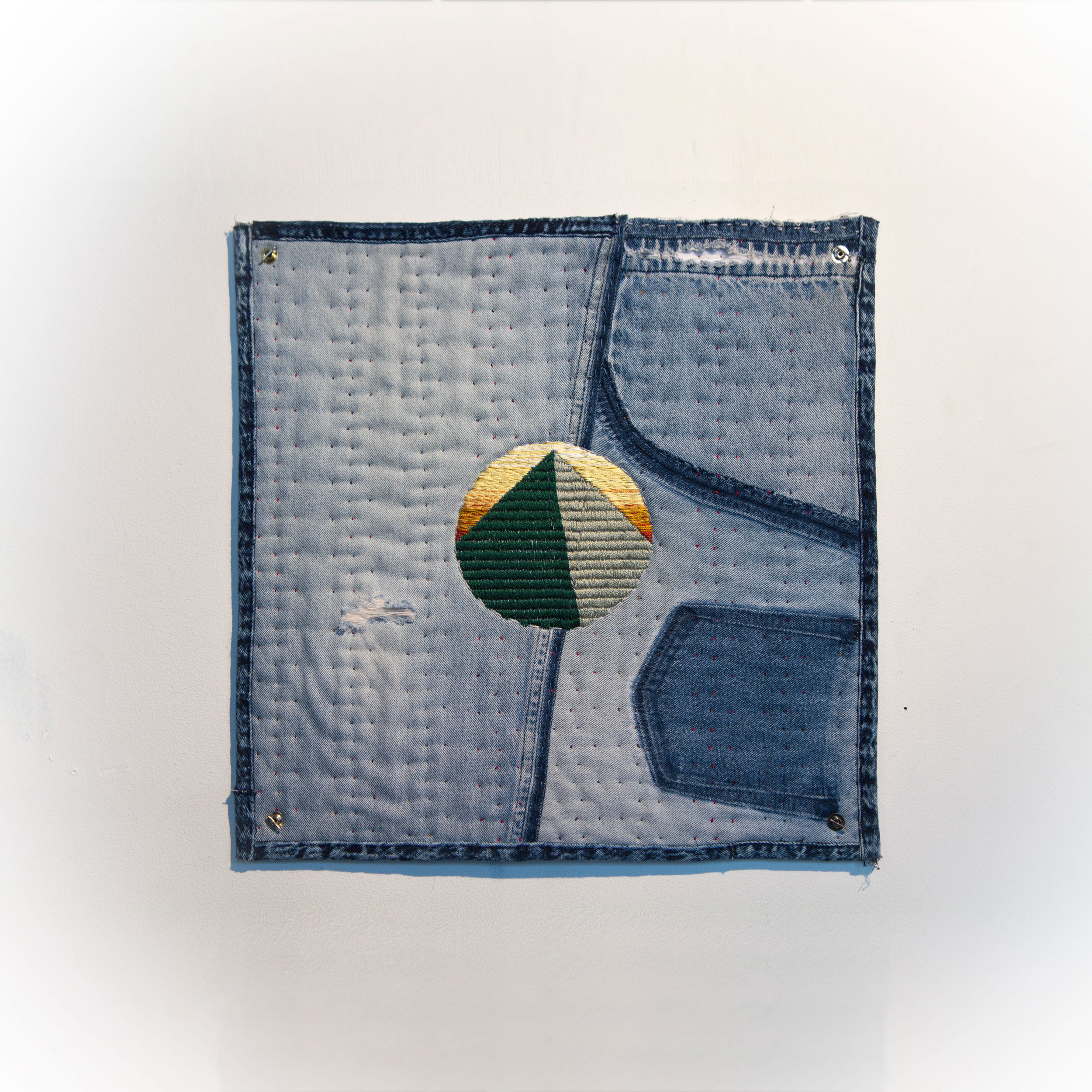 """The Past Comes All At Once, So Build Your Fortress Now Second-hand denim, second-hand sweatshirt, wool, tencel. 19 x 19"""" 2016"""
