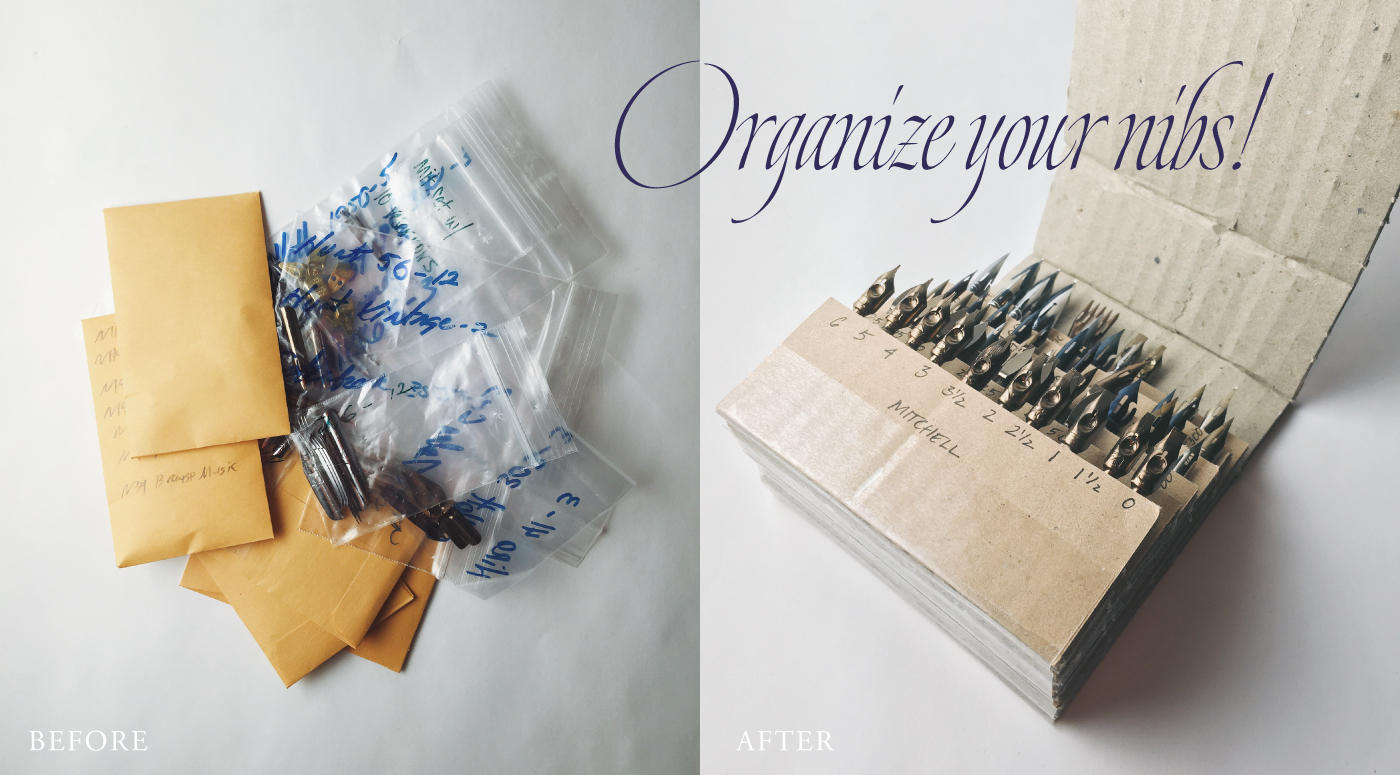 Instructions on using corrugated cardboard to create a calligraphy nib organizer | by www.chavelli.com