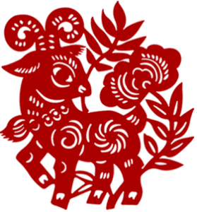 A traditional Chinese paper cutting featuring a sheep for 2015
