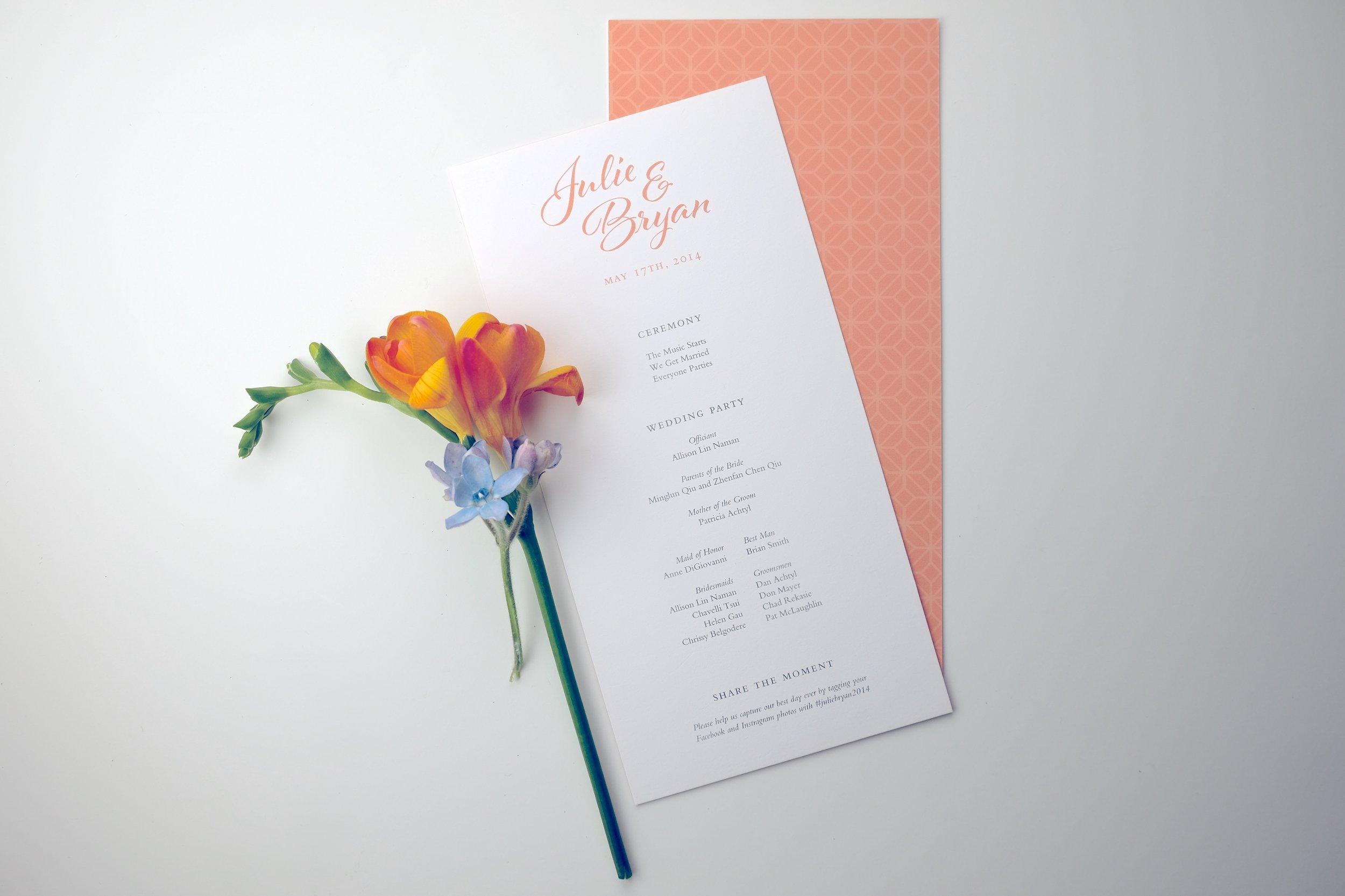 Custom designed wedding ceremony program by Studio Chavelli www.chavelli.com