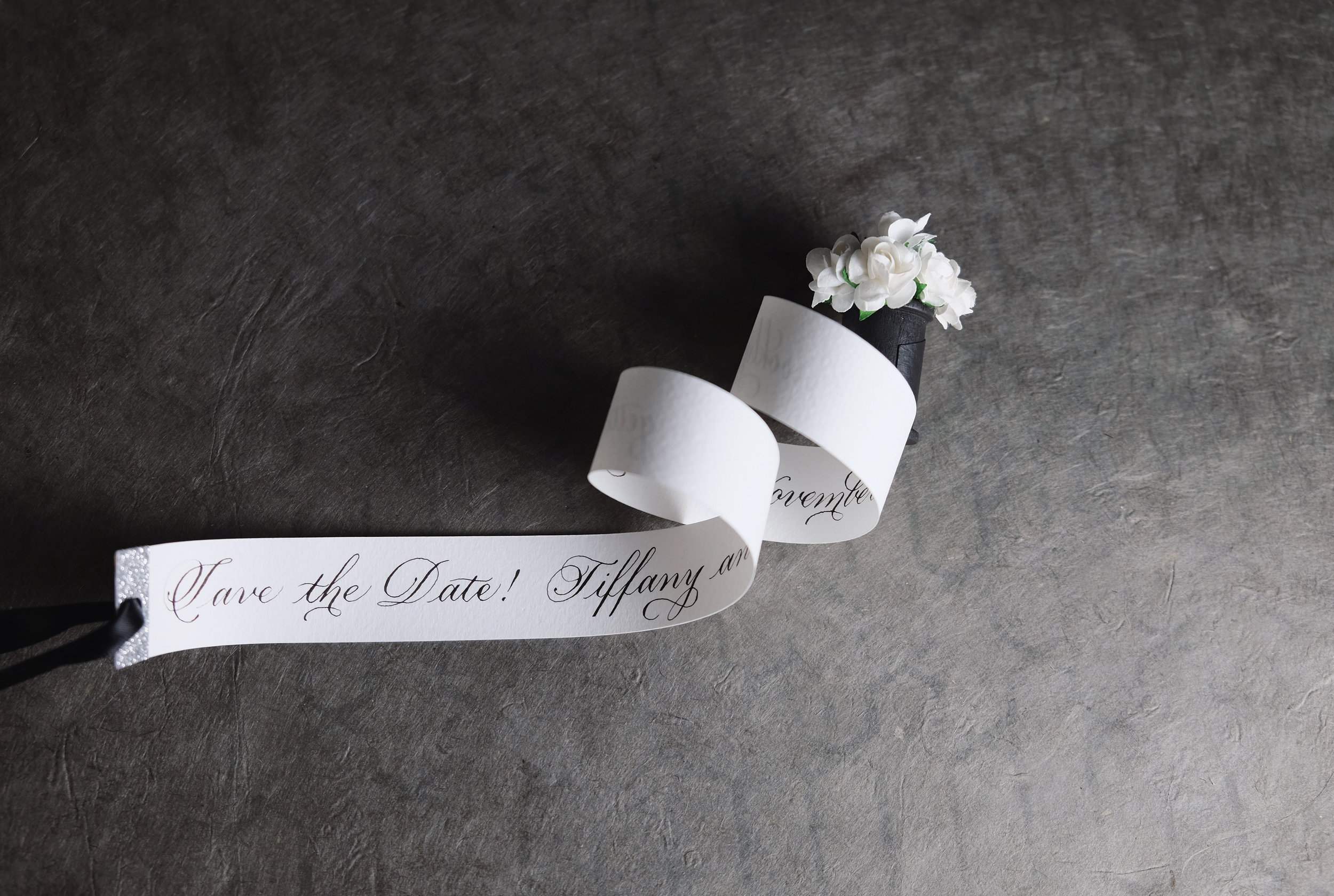 Hand-made Save the Date scrolls for a black-tie affair by Chavelli | www.chavelli.com