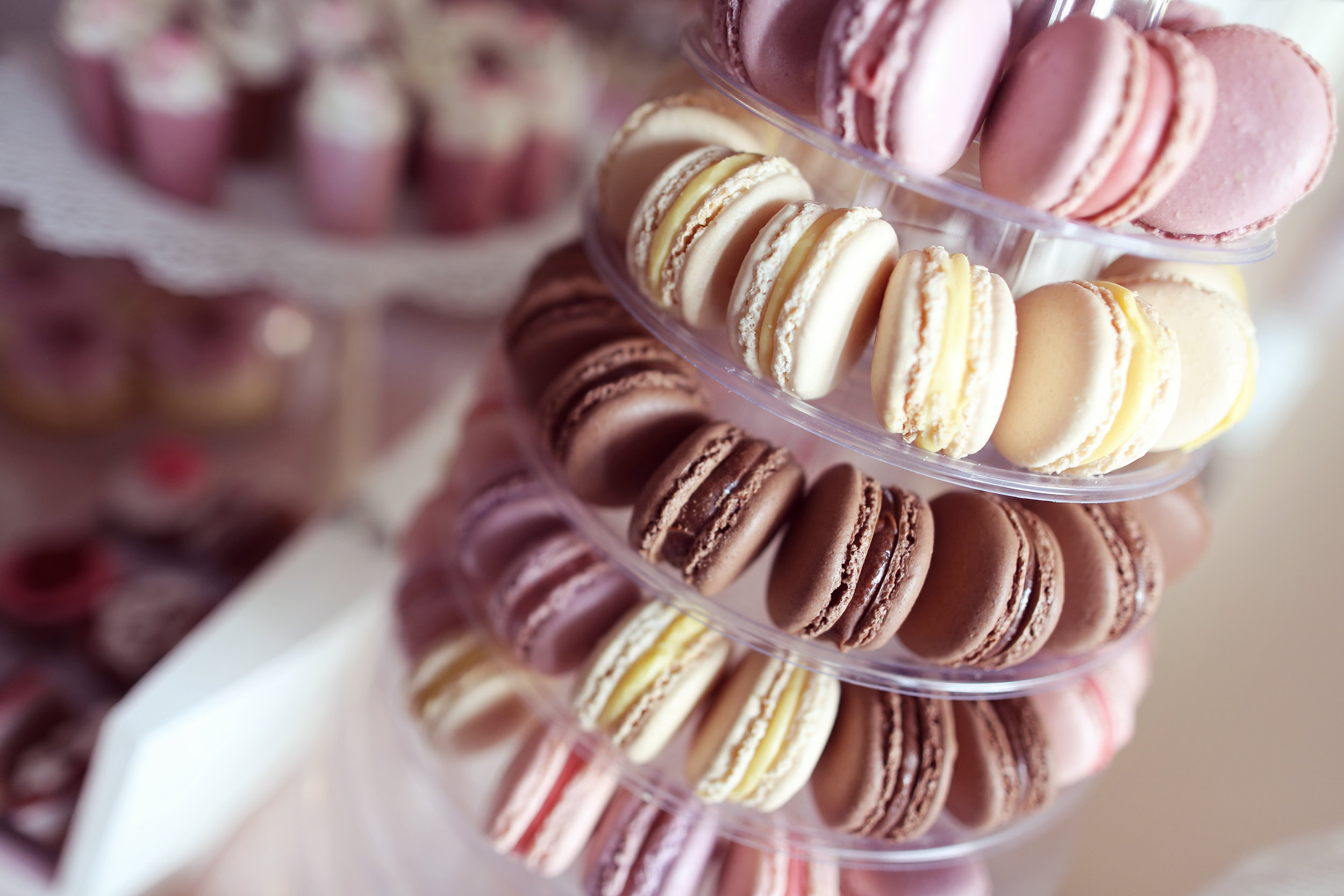 Delicious macaroons on stand
