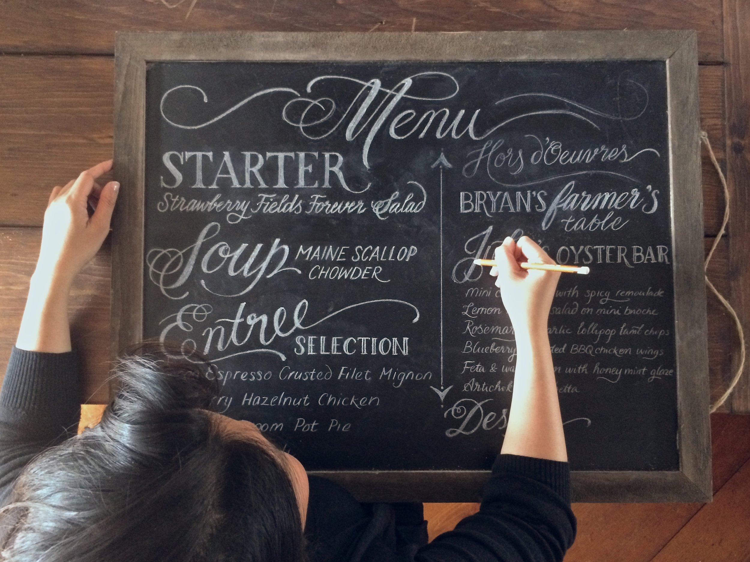 Chalkboard wedding menu by Chavelli www.chavelli.com