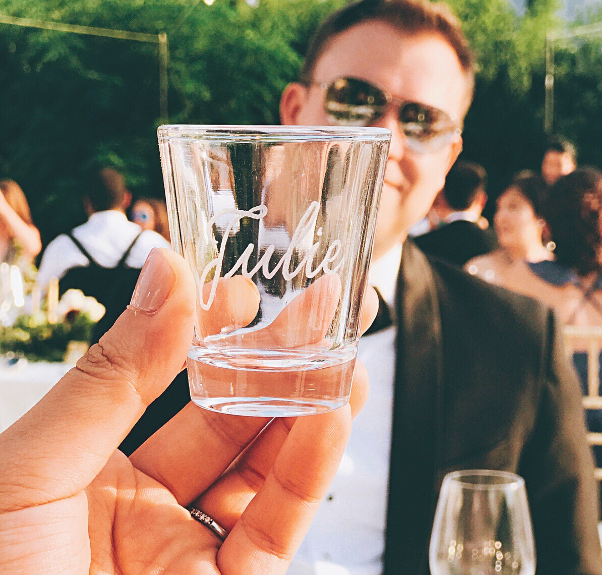 Engraved shot glasses that double as place cards and guest favors! // design and calligraphy by www.chavelli.com