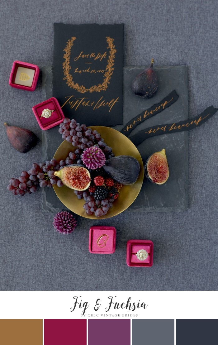 Fig and fuchsia wedding color palette |  Chic Vintage Brides