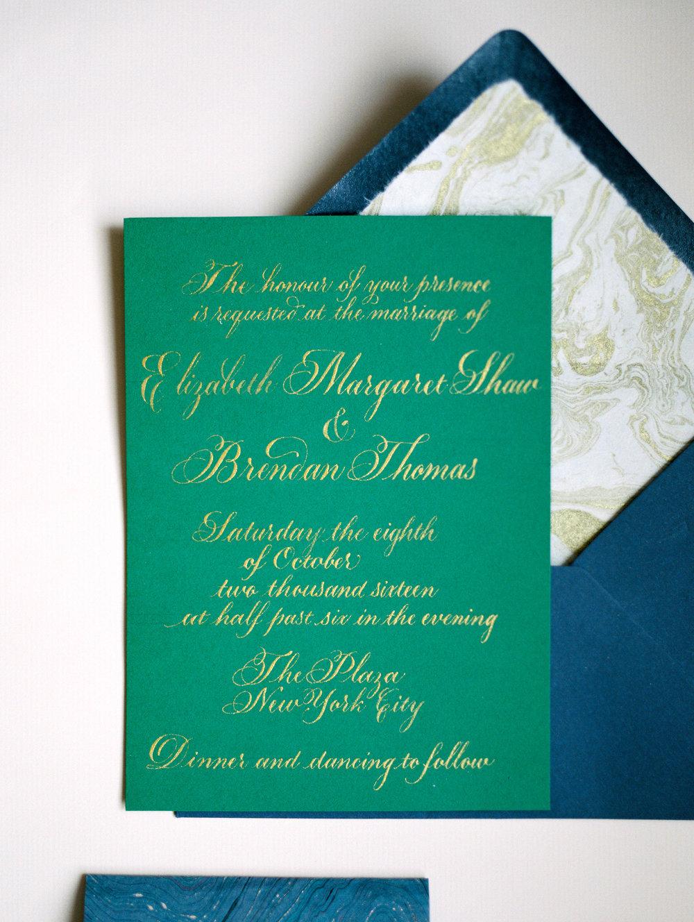 Emerald green wedding invitations |  Studio Chavelli