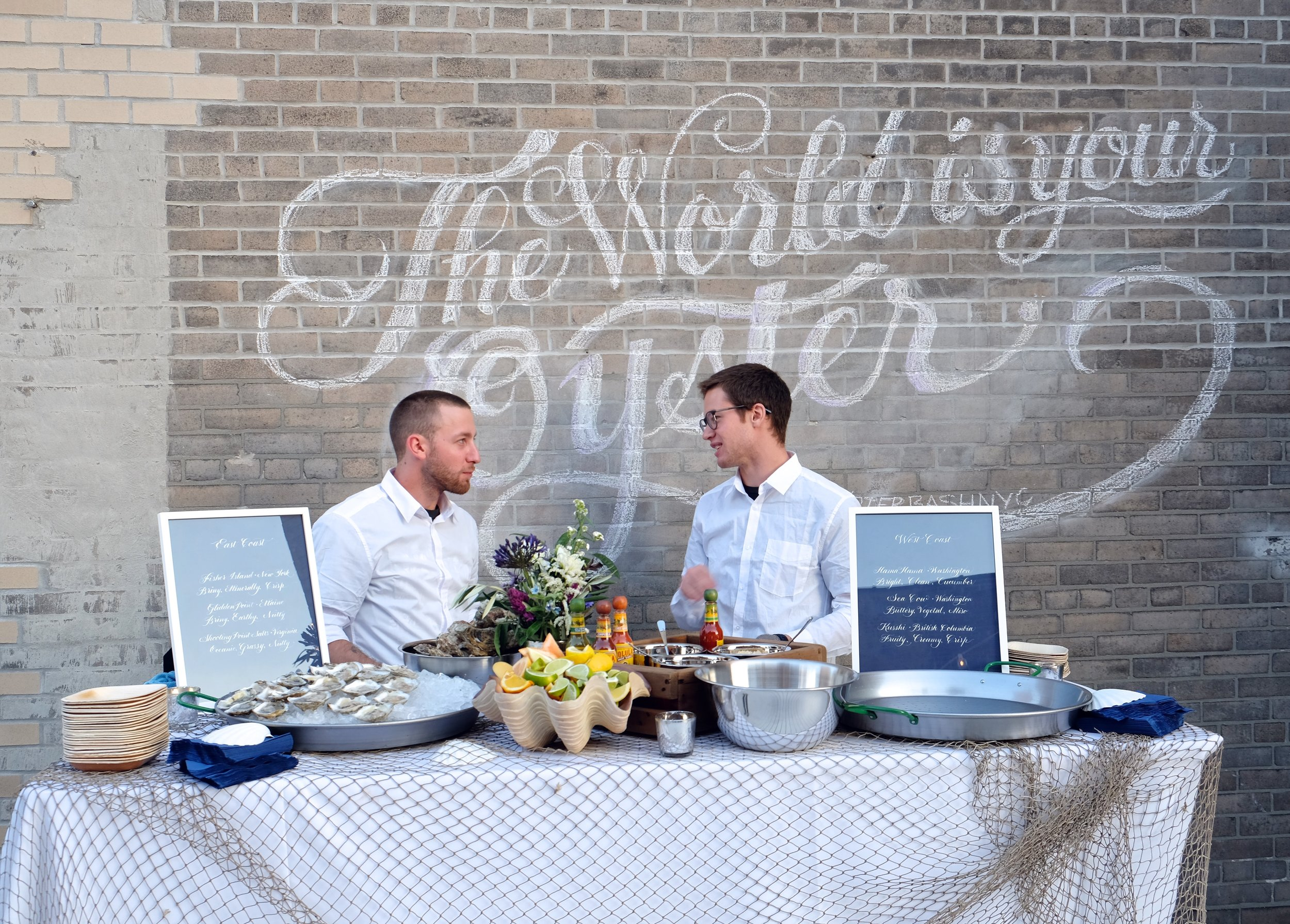 Custom lettering on an outdoor brick wall for Oyster Bash NYC // by Studio Chavelli www.chavelli.com