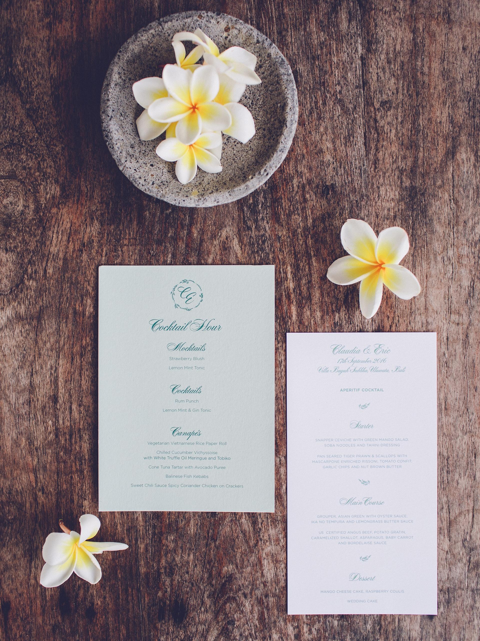 Elegant Tropical Wedding Menus