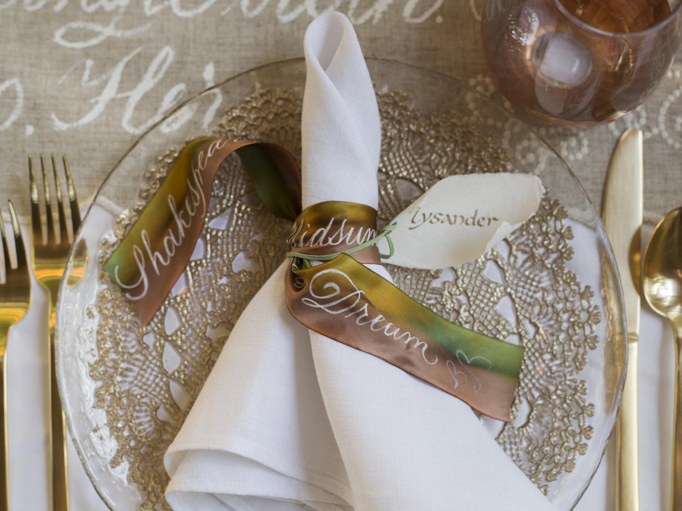 Silk Ribbon Place Card Scrolls