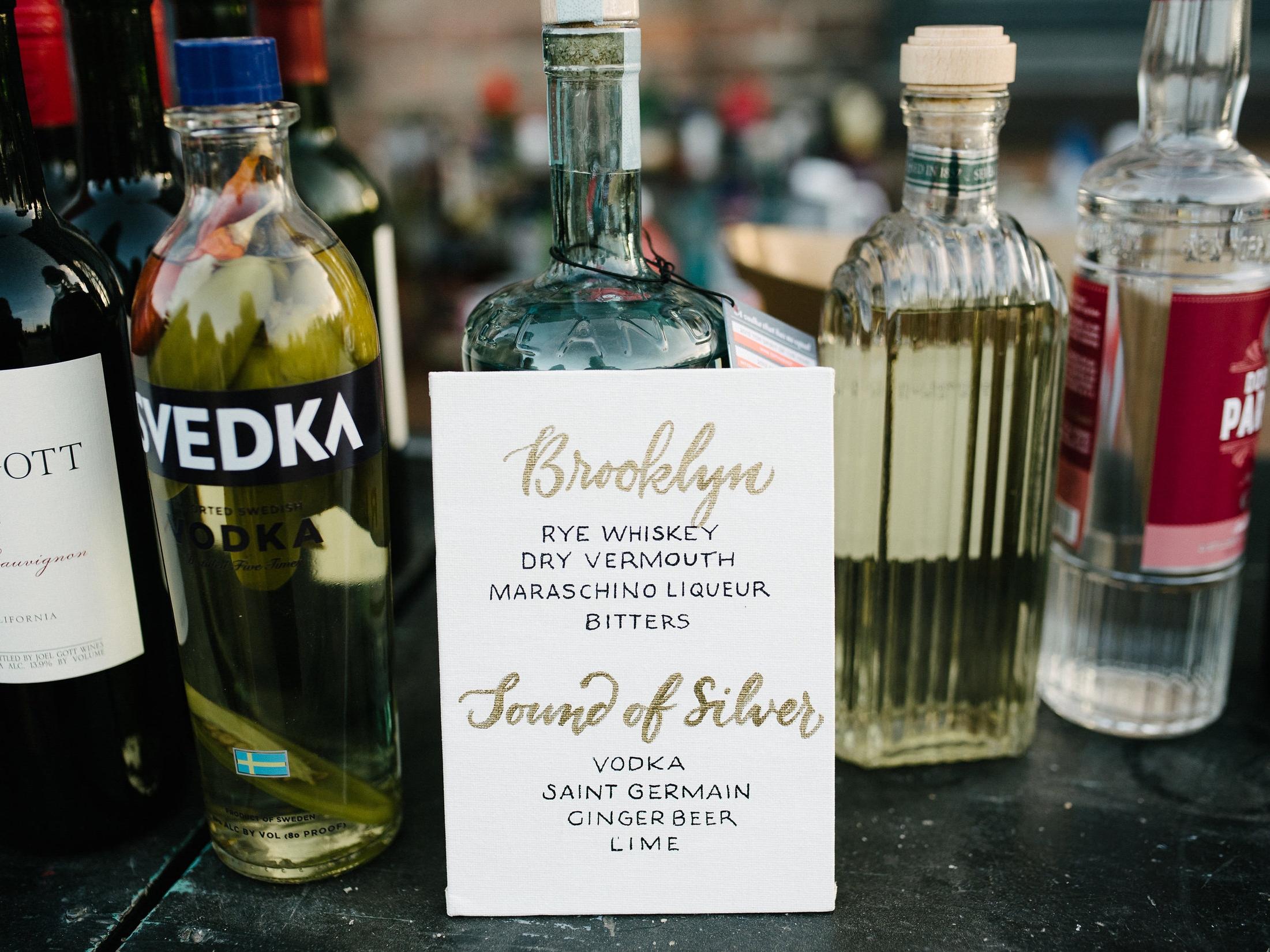 Signature cocktails wedding bar menu, hand-lettered // photography by www.lisahibbert.com