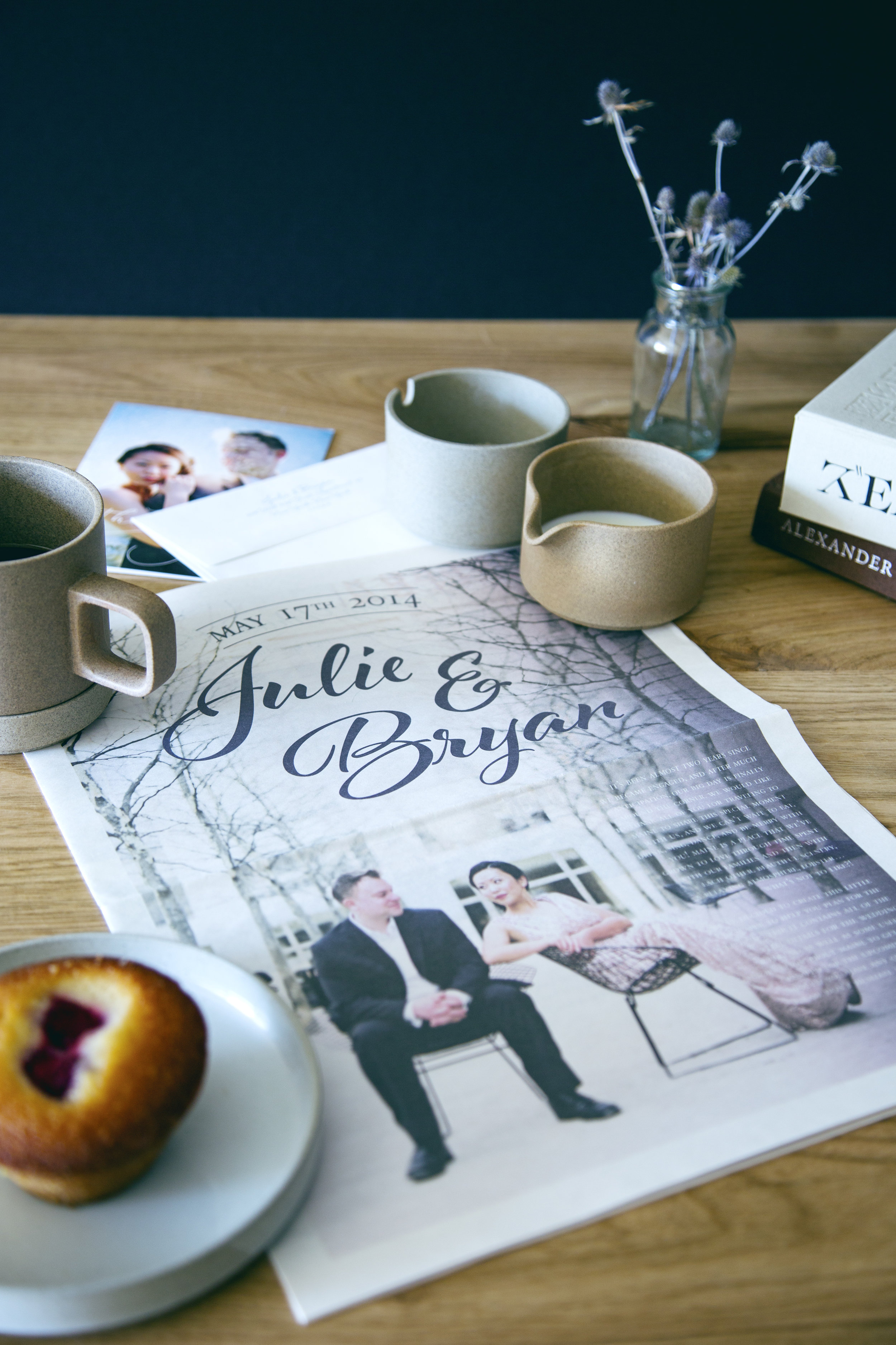 Custom designed Maine wedding invitation newspaper | www.chavelli.com