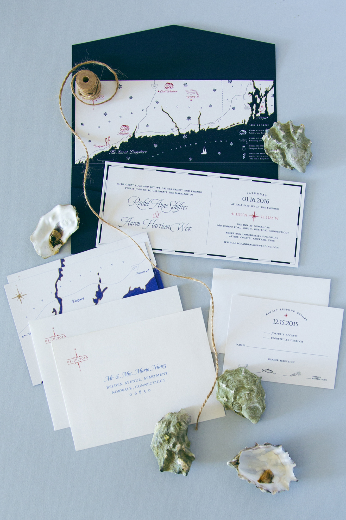 Nautical wedding invitation with custom drawn map