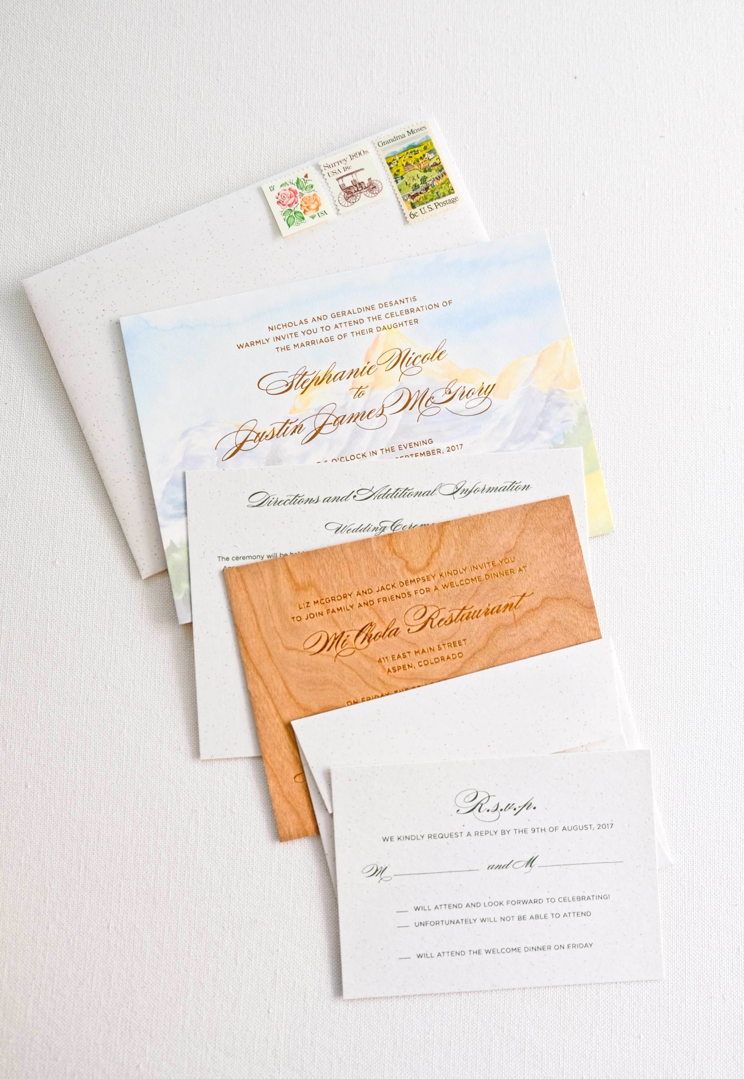 Aspen wedding invitation with watercolor painting and copper foil stamp | www.chavelli.com