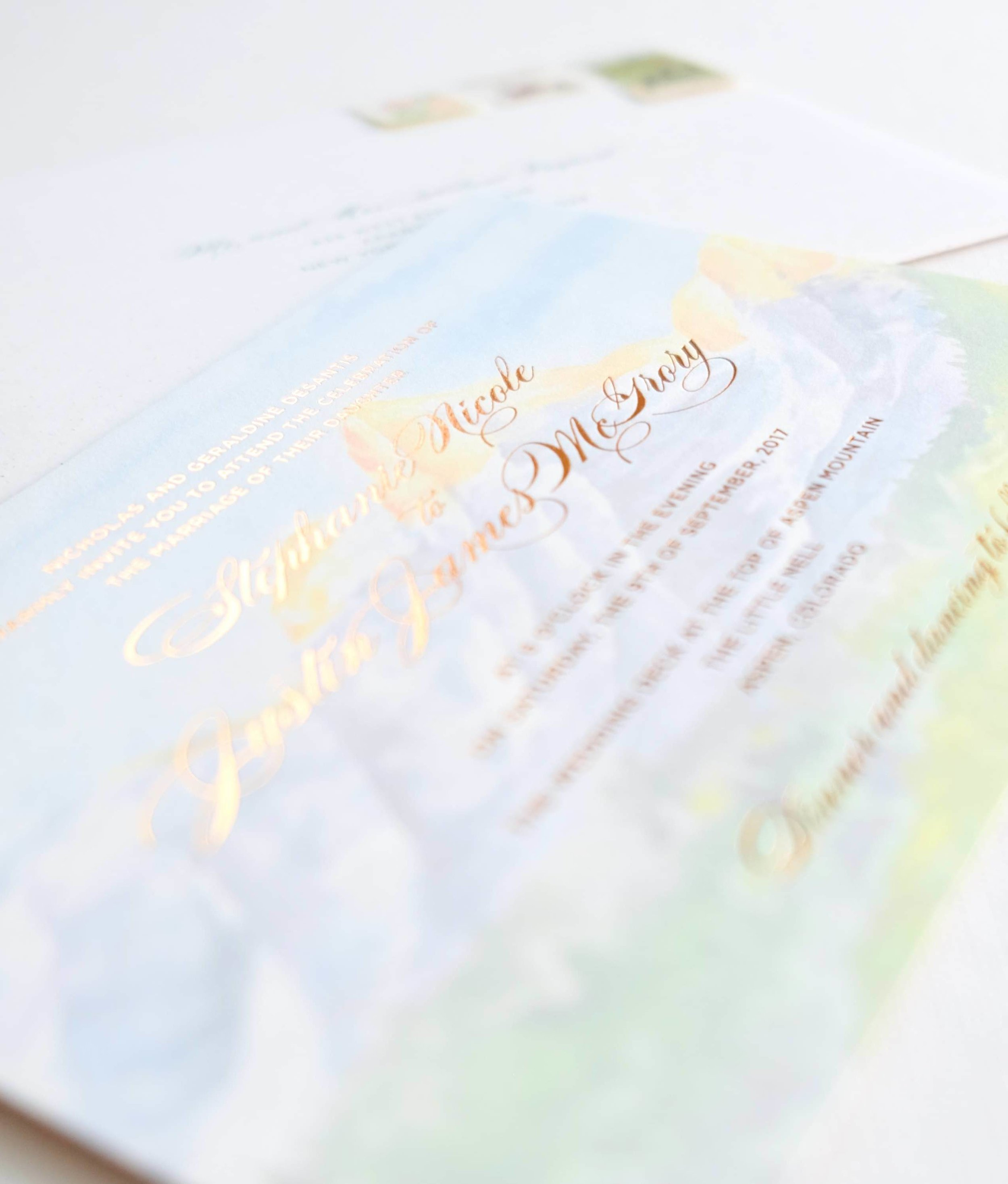 Copper foil stamped over a watercolor painting of the Aspen landscape | www.chavelli.com