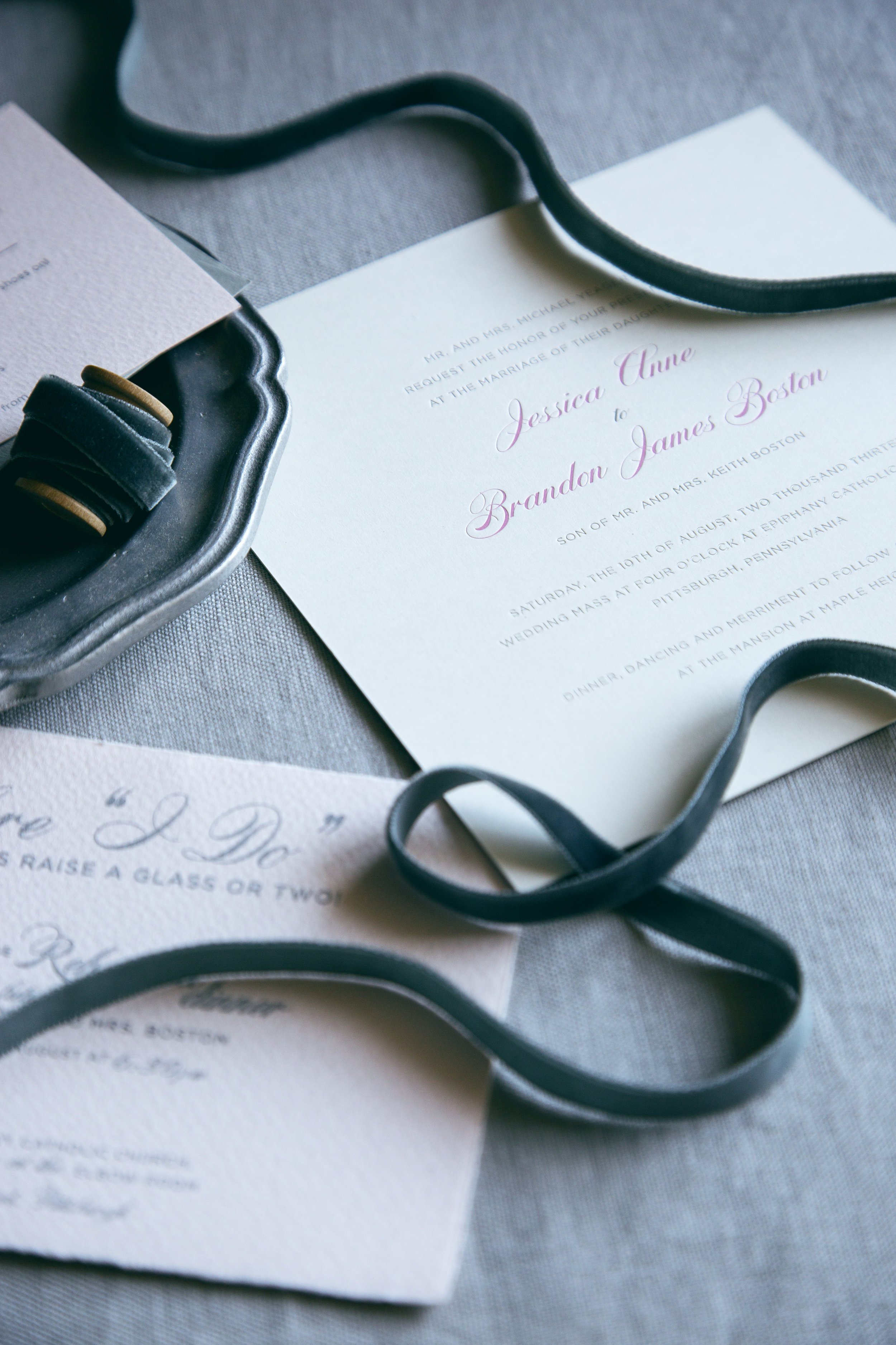 Pittsburgh letterpress printed wedding invitation with silver foil and calligraphy details   www.chavelli.com