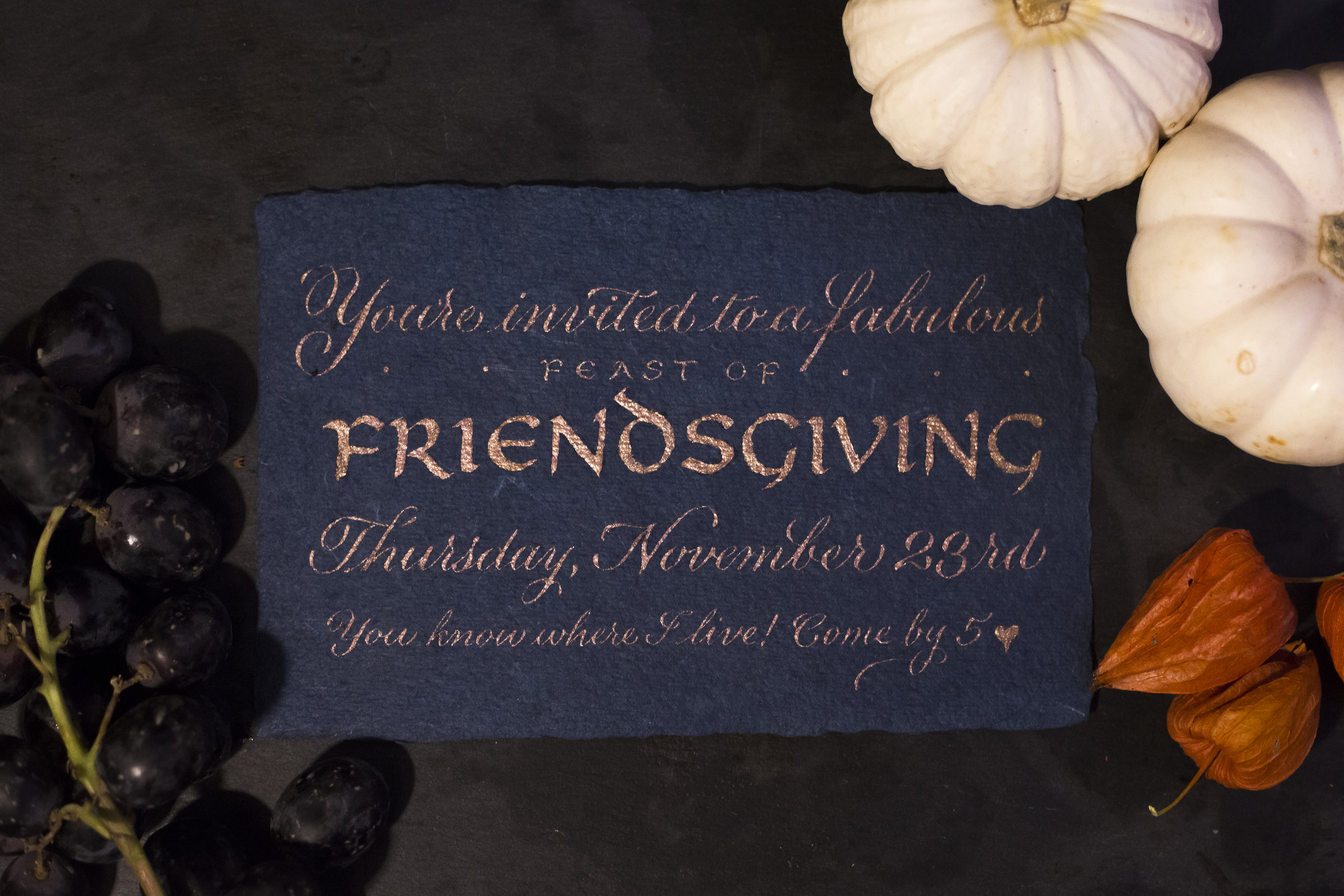 Friendsgiving calligraphy invitation | www.chavelli.com