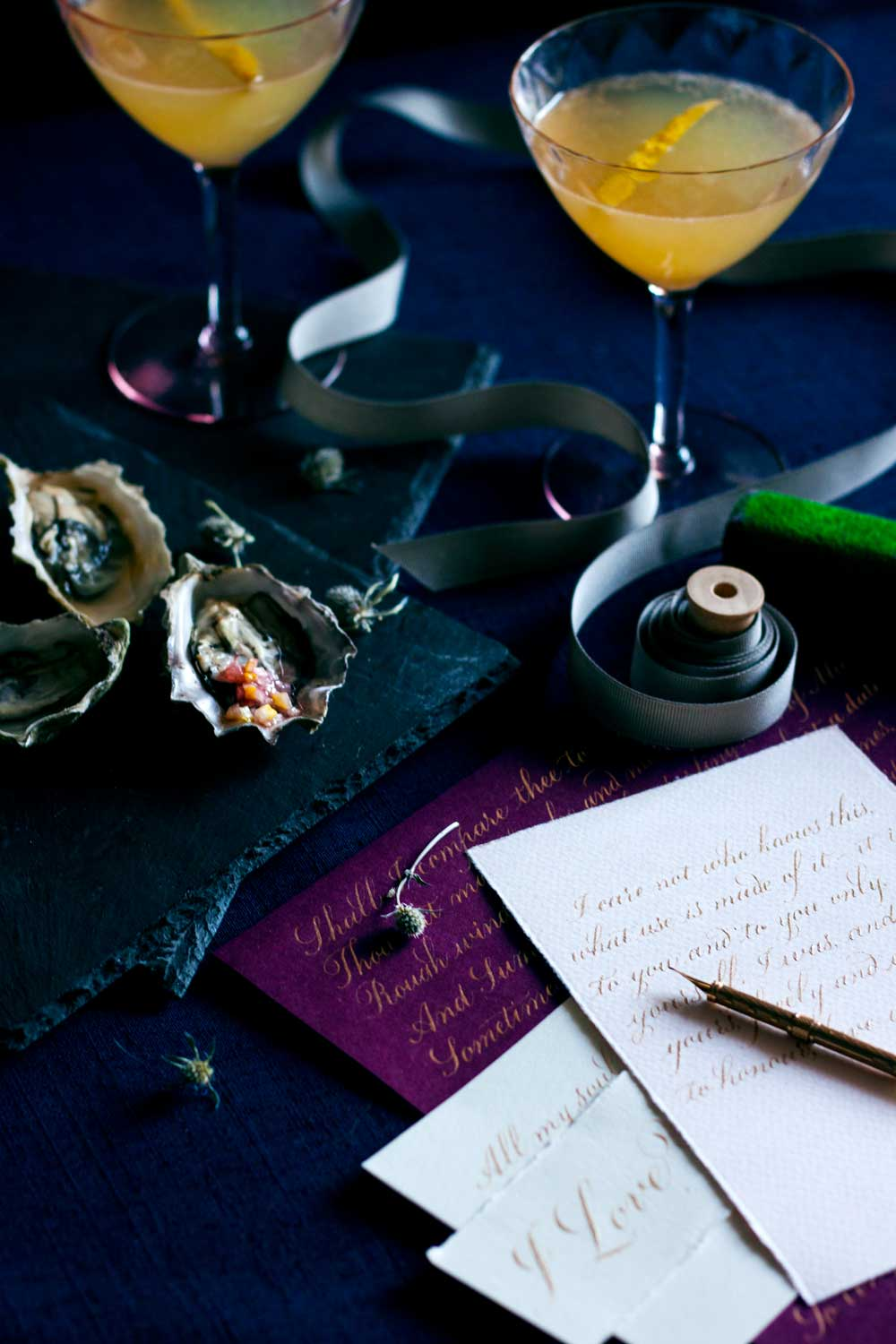 An intimate lovers nightcap | calligraphy and oysters | www.chavelli.com