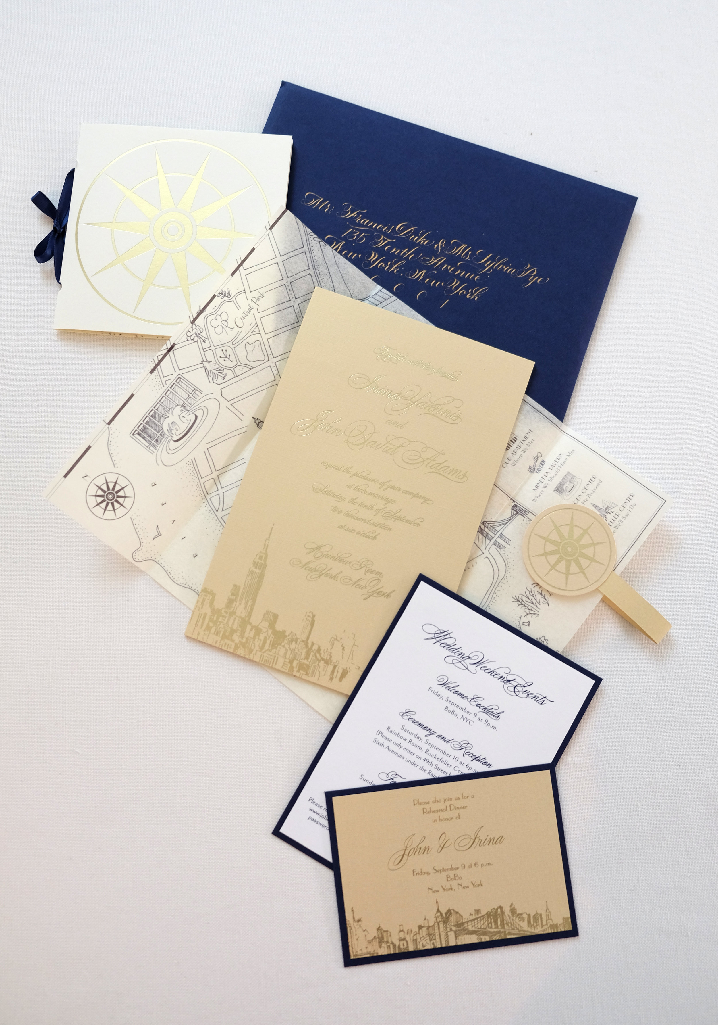 Invitation suite for a glamorous Rainbow Room NYC wedding | www.chavelli.com