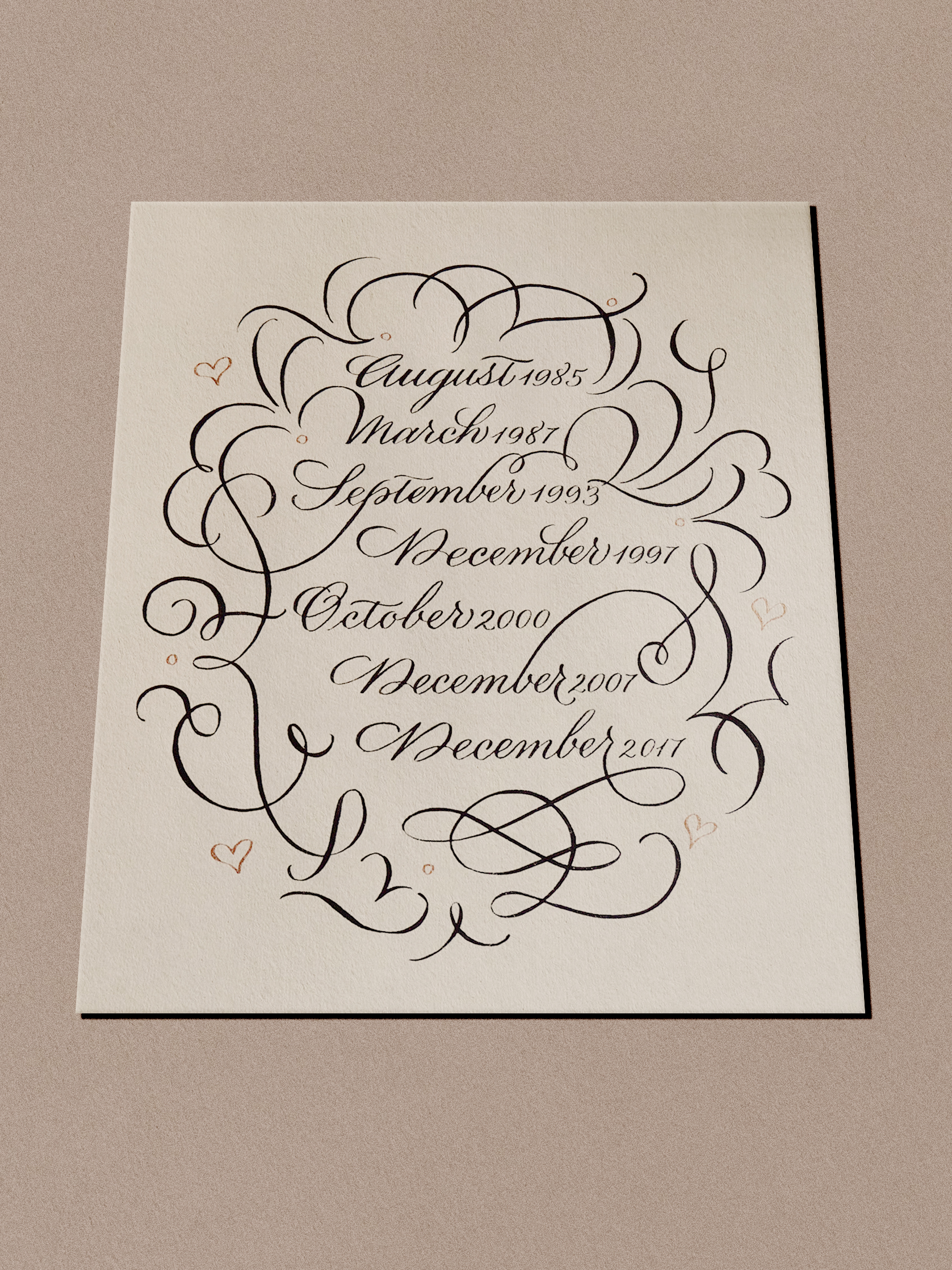 20th wedding anniversary calligraphy gift | www.chavelli.com