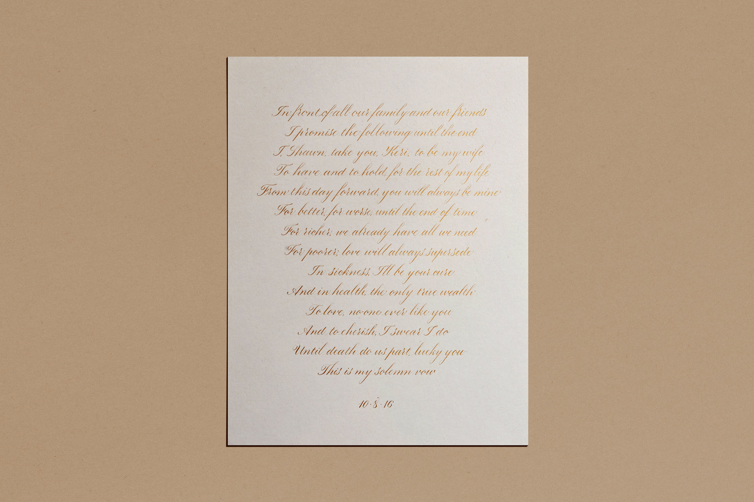 Wedding vows in calligraphy for a first wedding anniversary | www.chavelli.com