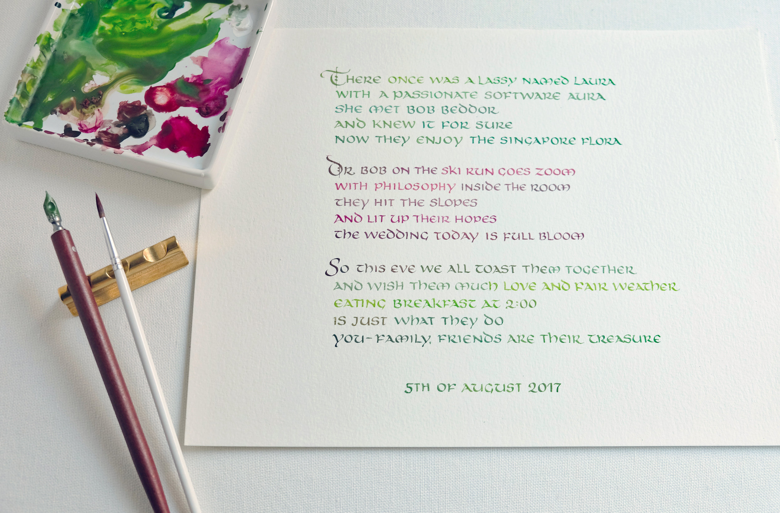 Wedding Limerick in uncial calligraphy with ombre ink | www.chavelli.com