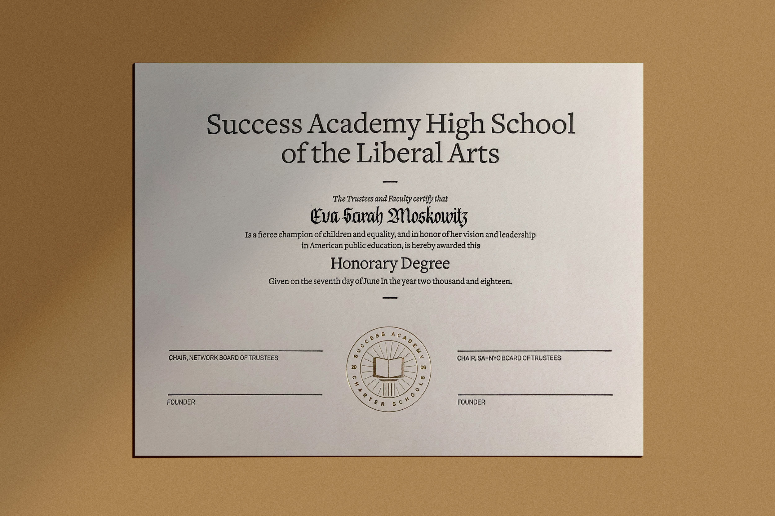 Success Academy diplomas in blackletter calligraphy | www.chavelli.com