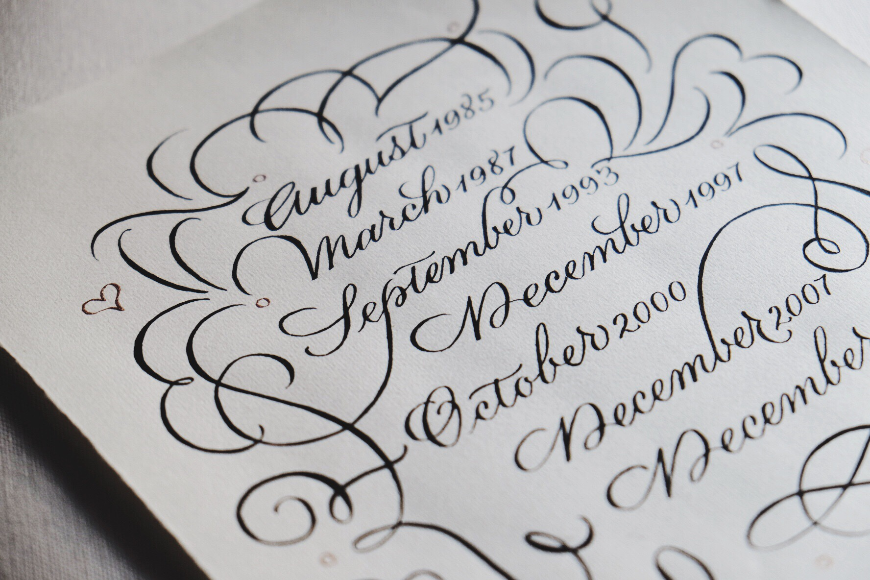 20th Wedding Anniversary custom calligraphy gift   www.chavelli.com
