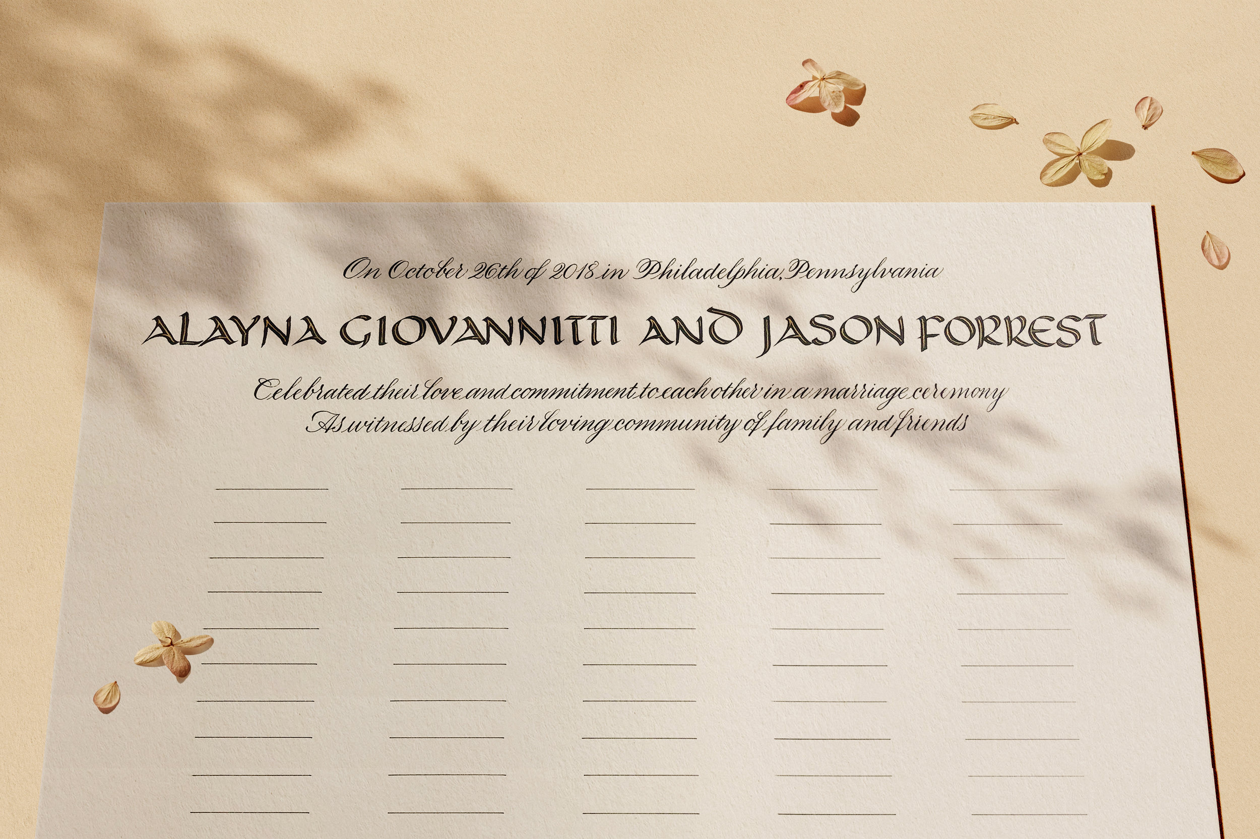 Quaker inspired Wedding Certificate in calligraphy   www.chavelli.com