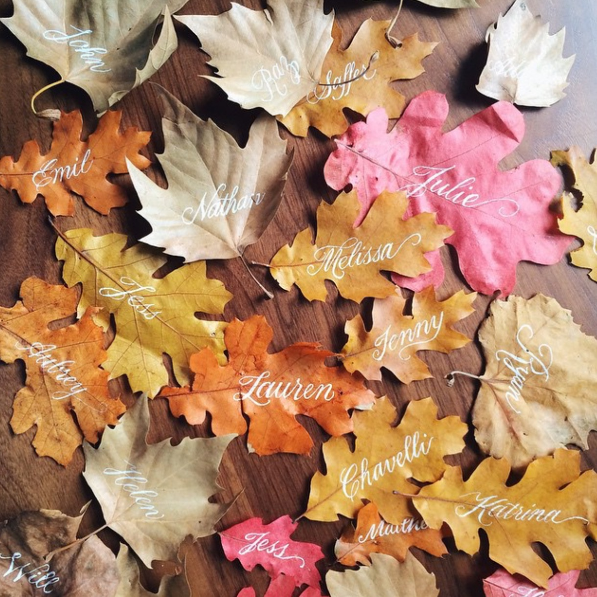 Script calligraphy on dried leaves as fall dinner party place cards   by www.chavelli.com