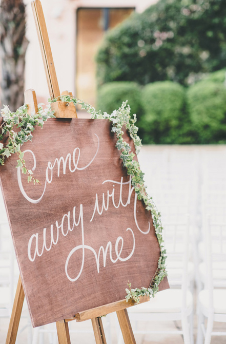 """""""Come Away With Me"""" hand-lettered wooden wedding signage   by www.chavelli.com"""