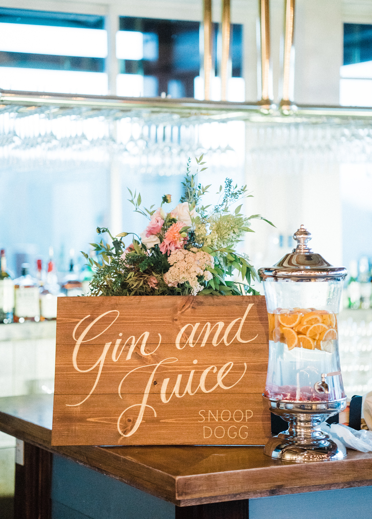 Wedding decor: song titles lettered onto wood signs   by www.chavelli.com