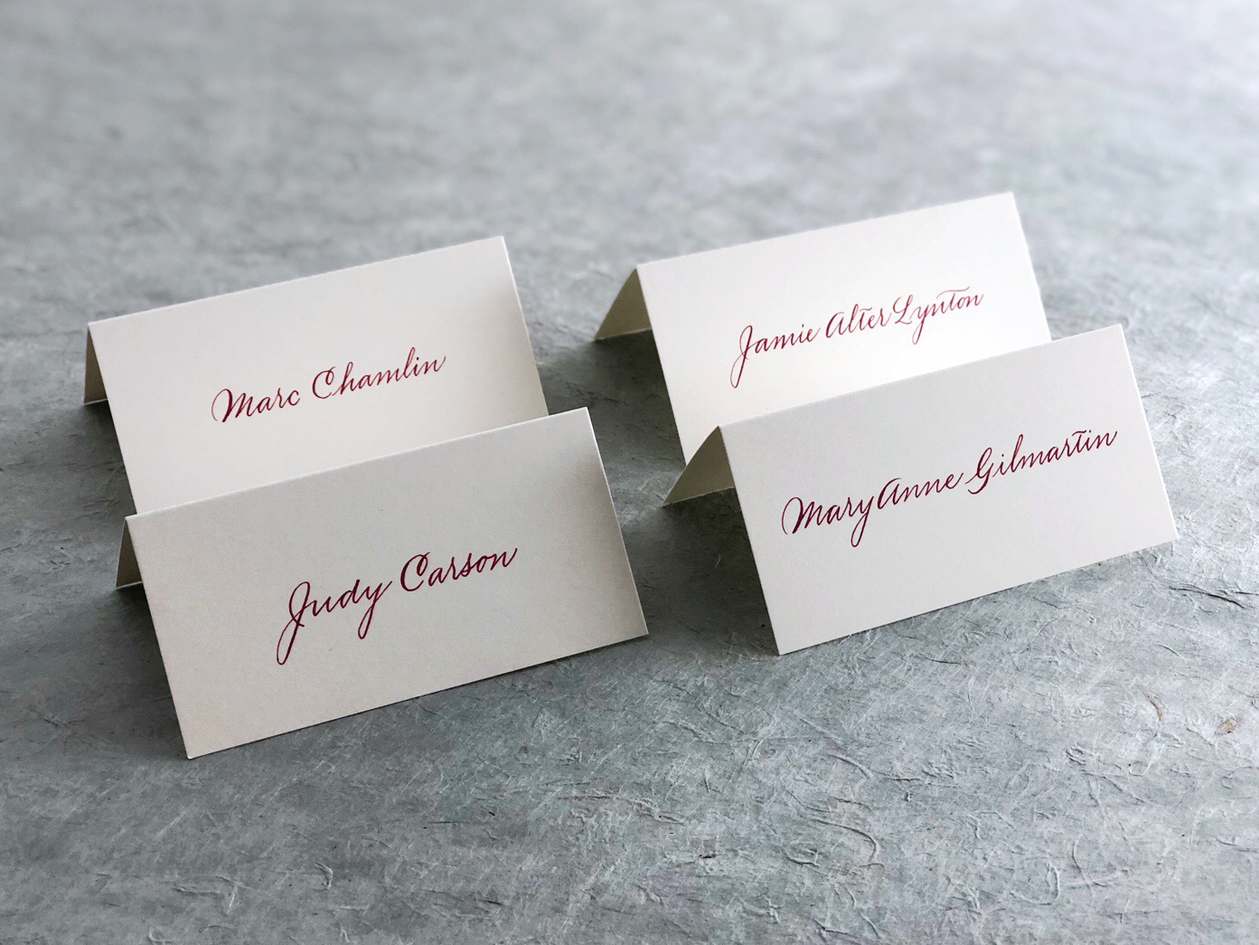 Spencerian calligraphy place cards for NYPR Gala   by www.chavelli.com