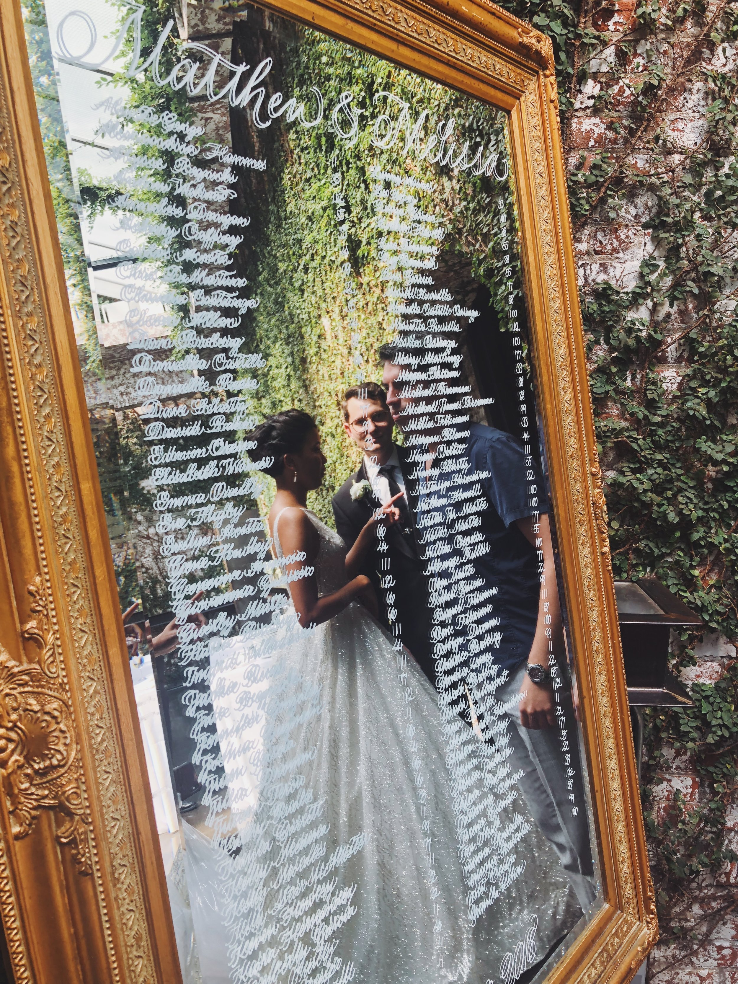 Wedding seating chart mirror with calligraphy   by www.chavelli.com