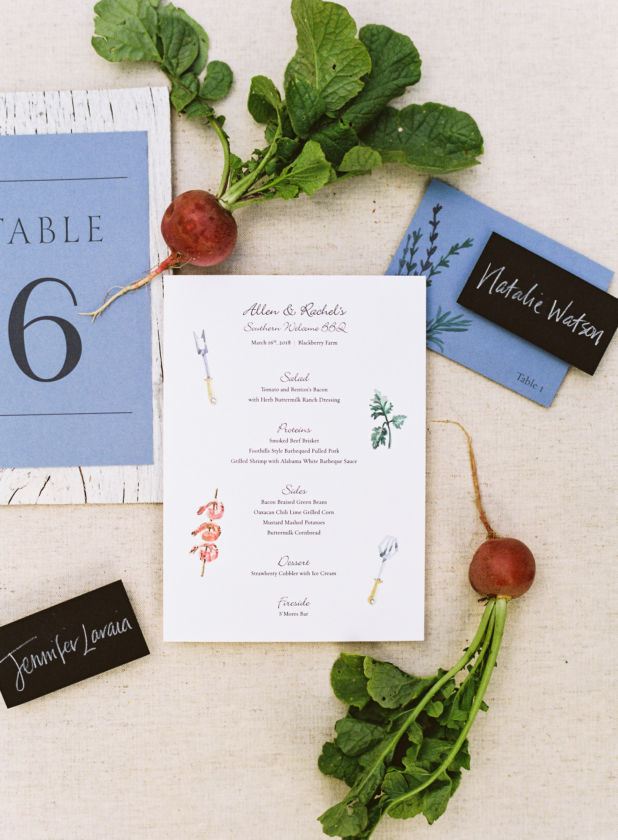 Blackberry Farm Wedding stationery: Escort card name tags, table numbers and menu | design and calligraphy by www.chavelli.com