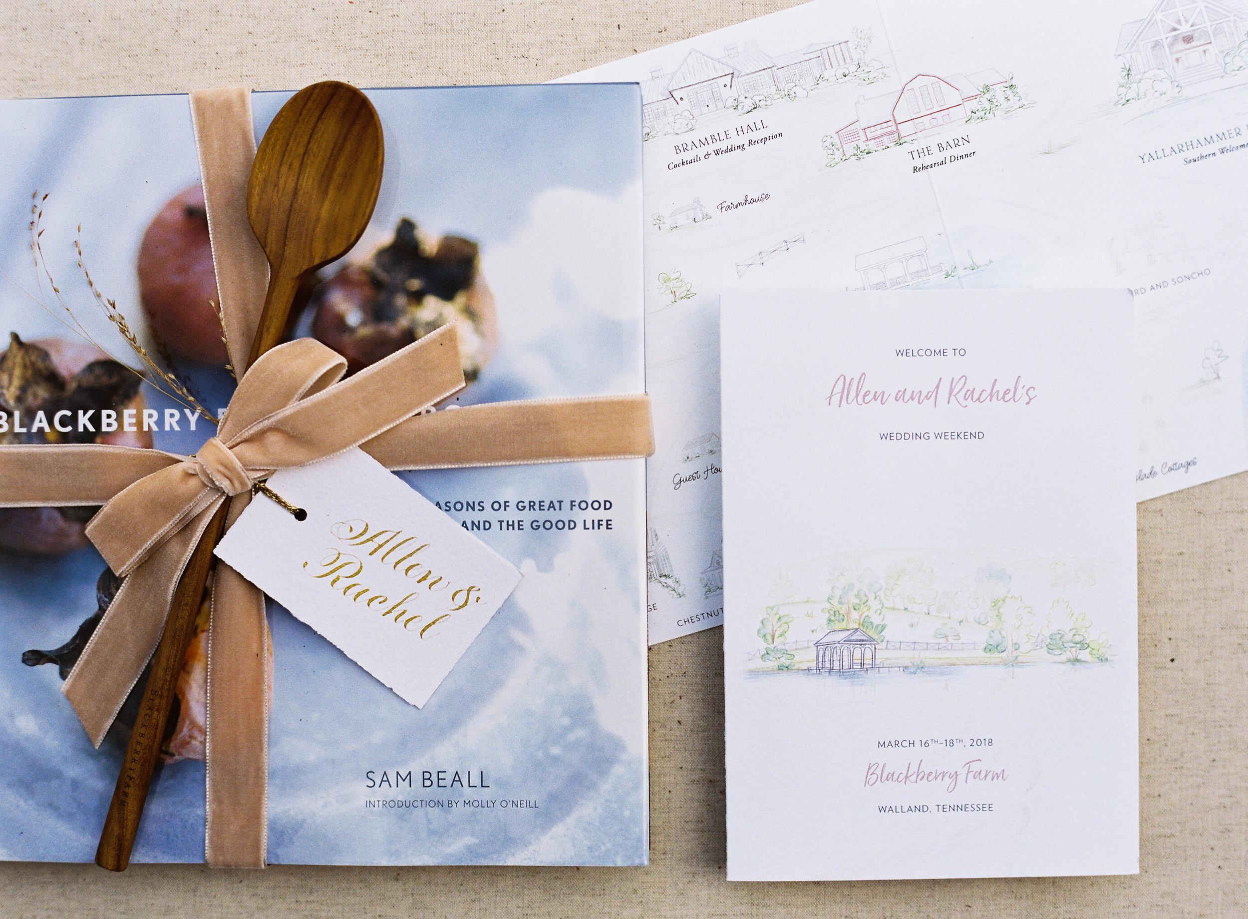 Welcome Gifts from Blackberry Farm with a custom venue map drawn by Chavelli www.chavelli.com