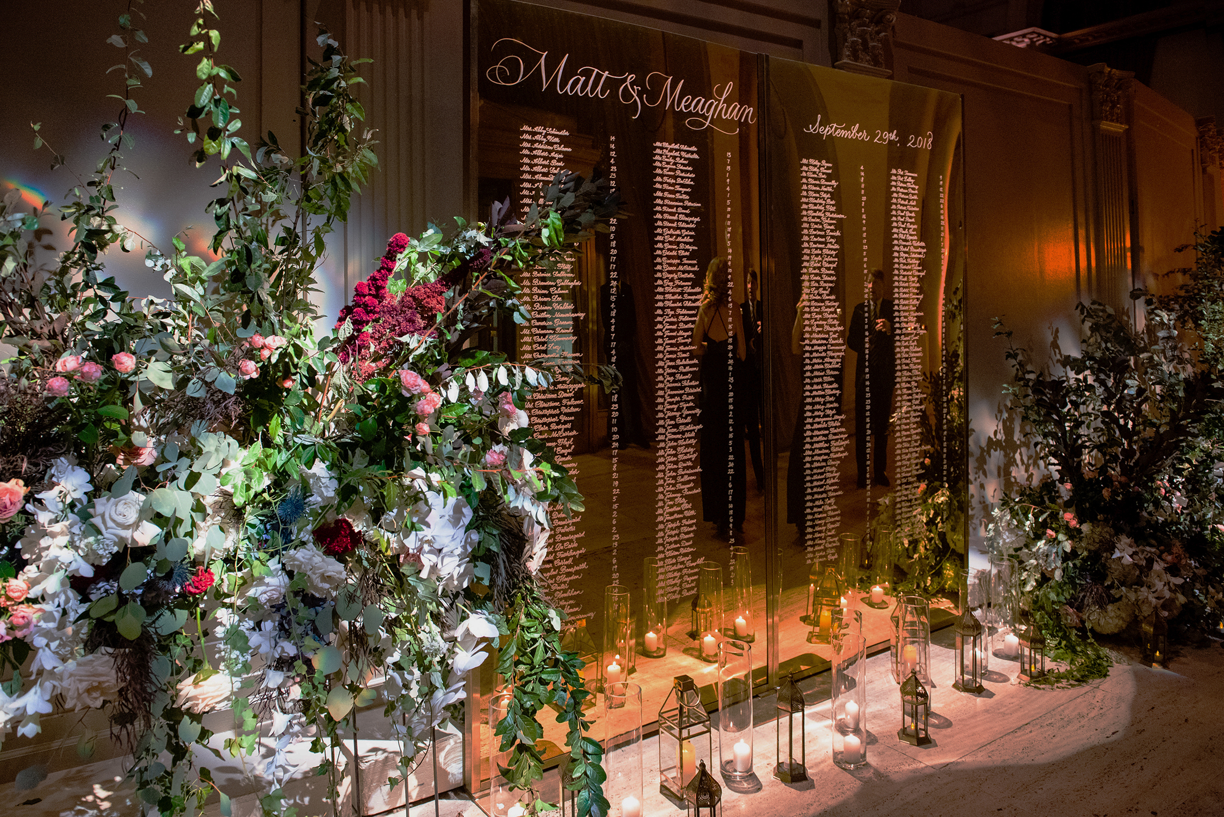 Cipriani Wall Street Wedding: Mirrored Seating Chart in calligraphy   by www.chavelli.com