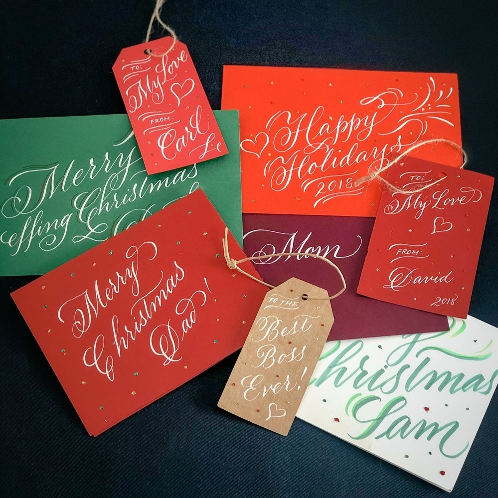 on-site calligraphy - From crafting holiday greetings and Valentines cards to demonstrating your latest products at trade shows, live calligraphy is always a hit.I can write on paper, glass, leather, wood, and many other materials to personalize all sorts of objects on the spot!⇢ Get in touch for your next event