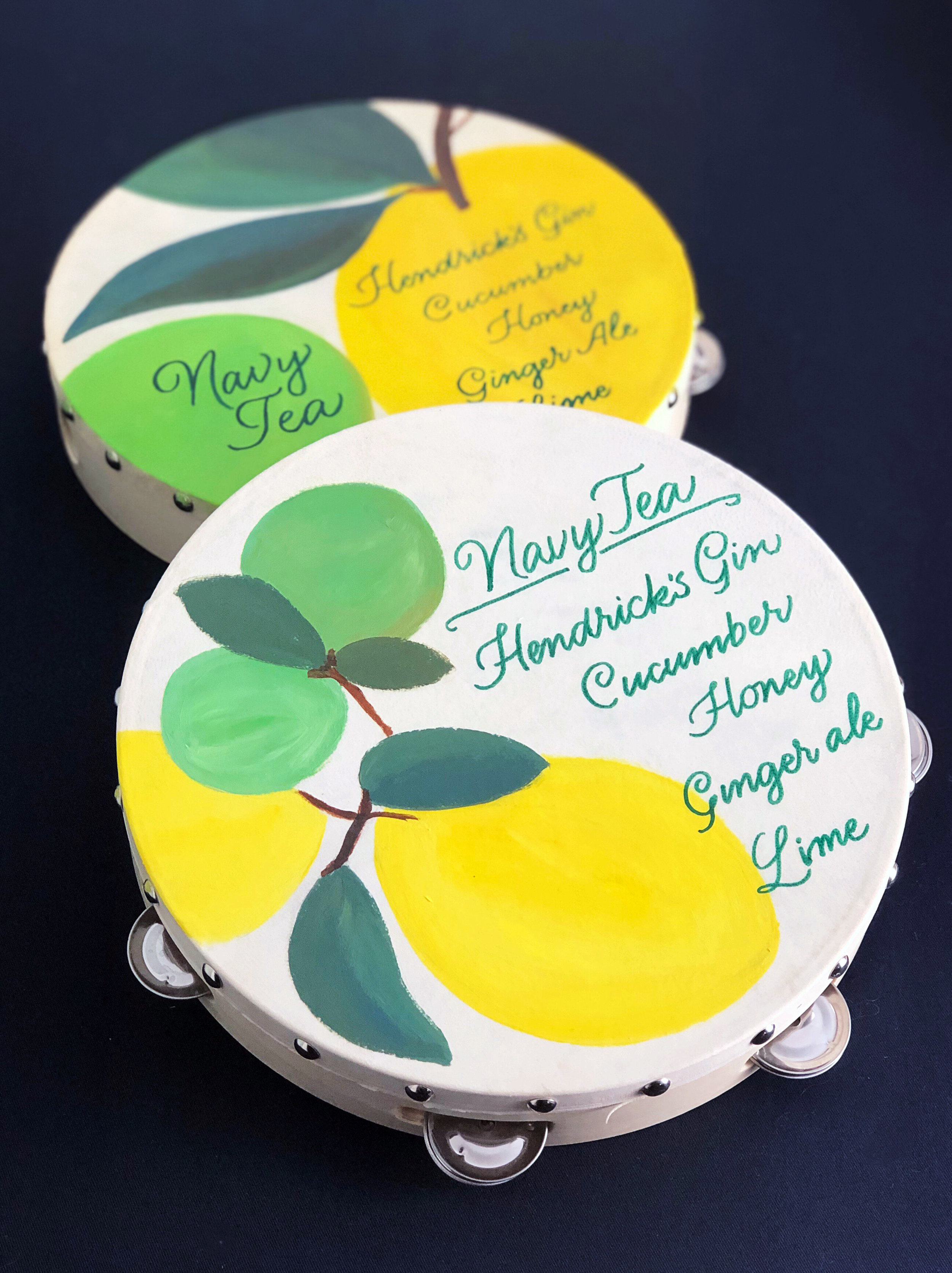 Bar menu tambourines, hand painted and lettered   by Chavelli www.chavelli.com